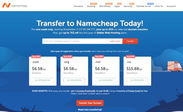 #11.11#Namecheap:域名后缀com,org,net转入6.58刀